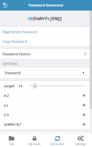 A screenshot of the Bitwarden password generator