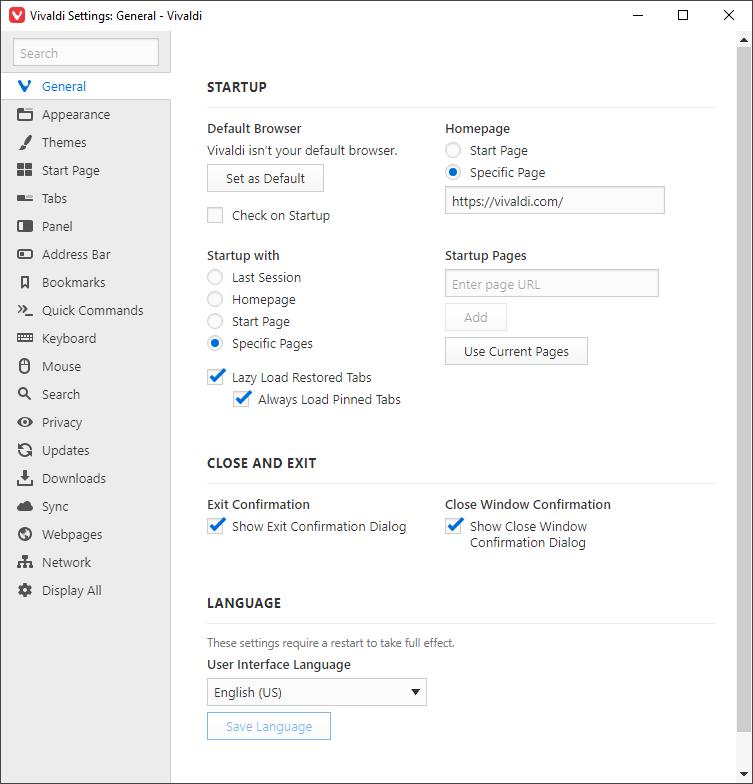 screenshot of vivaldi's preferences