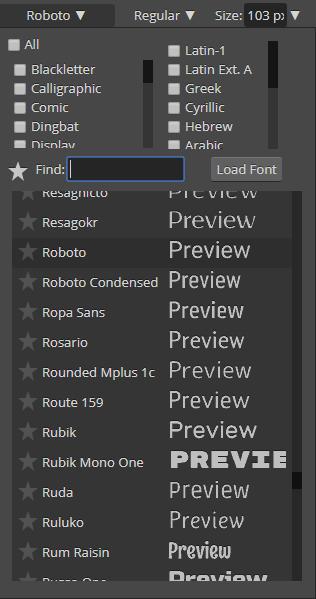 Screenshot demonstrating the font selector