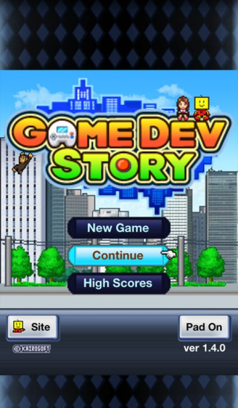 game dev story review start screen