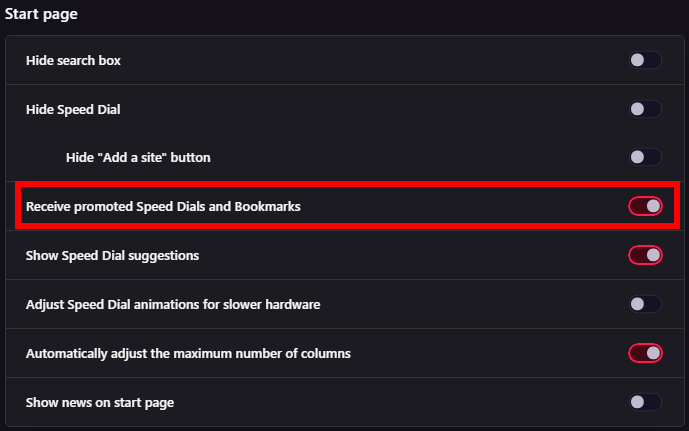 Screenshot of Opera GX settings