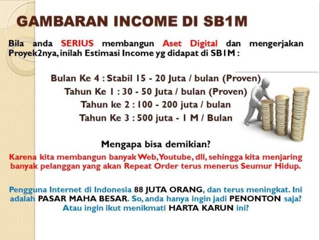 gambaran income penghasilan member sb1m