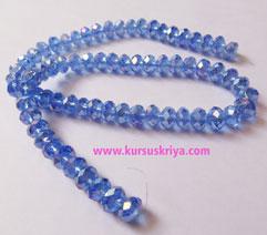 Manik gelas bulat oval facet,blue azure AB