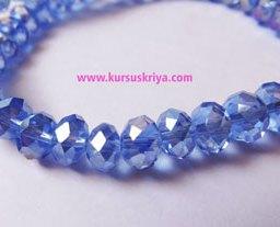 Manik gelas bulat oval facet,blue azure AB (BAW0393)