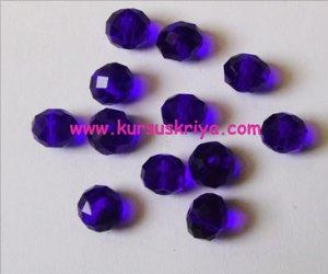 Manik kristal bulat biru tua 10 mm