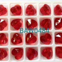 Manik kristal 14 mm bentuk hati red siam