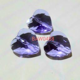 Manik kristal austria hati 14 mm light amethyst