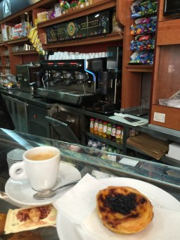 Lovely pastel de nata and expresso in Lisboa, Portugal