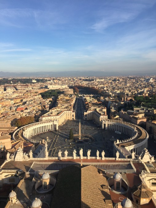 On top of the St. Peter's Basilica in Rome, Italia.