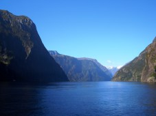 Cruising the magnificent Milford Sound in the Fiordland National Park, New Zealand.