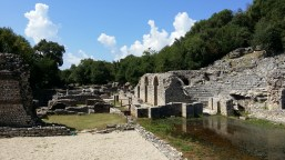 Remains of the agora of the ancient Greek and Roman city, Buthrotum, in Butrint, Albania.