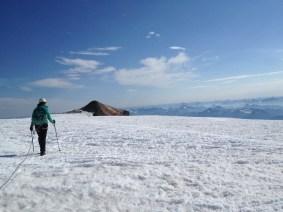 Crossing the summit plateau, Mount Baker