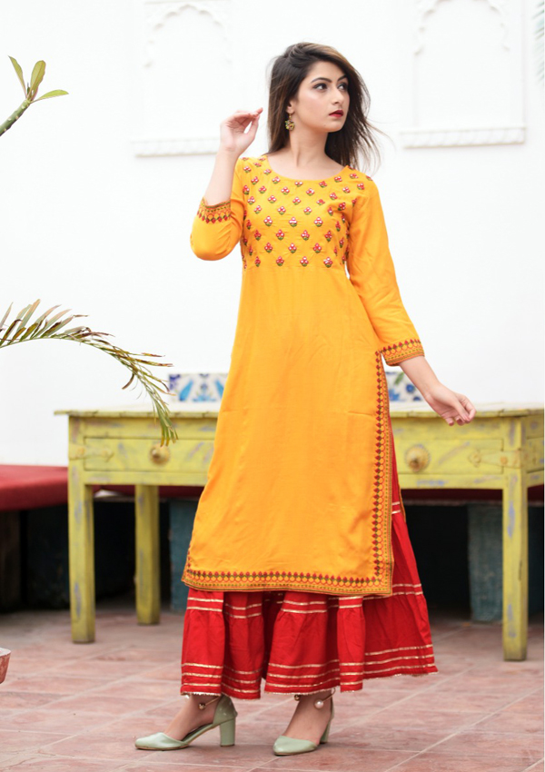 2-piece Yellow-Colored Rayon Kurti with Sharara