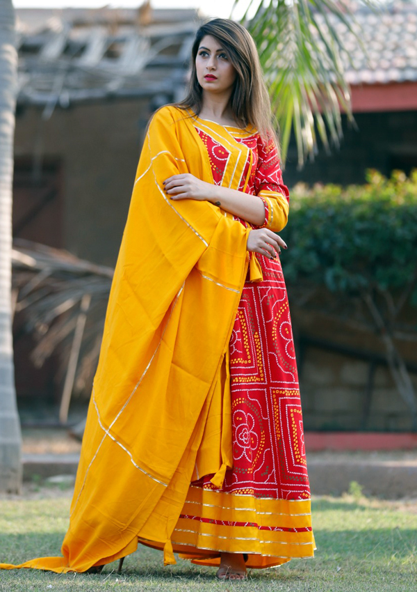 Angrakha Gown in Bandhani Print and Gota Lace