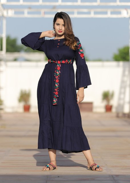Beautiful Rayon Kurti in Several Colours with Embroidery