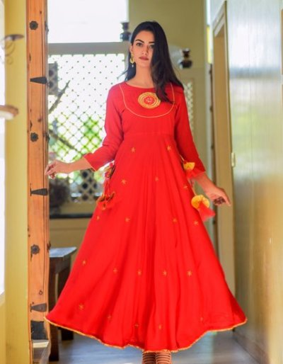 Floor Length Fancy Dress with Gota Detailing