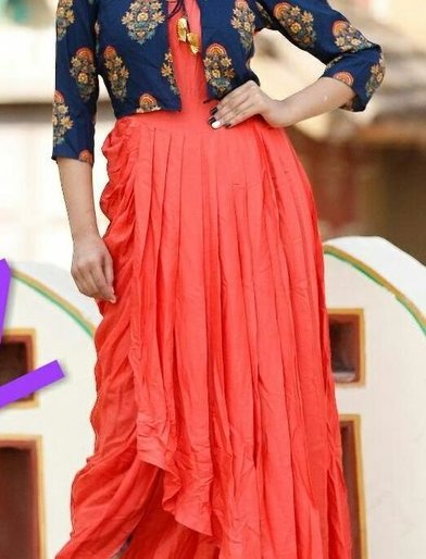 Vibrant Red-and-Blue Rayon Kurti with jacket