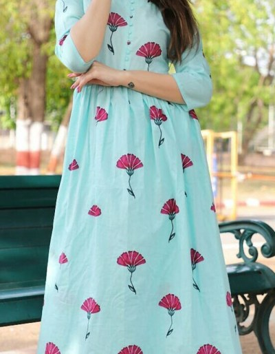 2-perice floral print Kurti plaazo set in cotton fabric [1077]