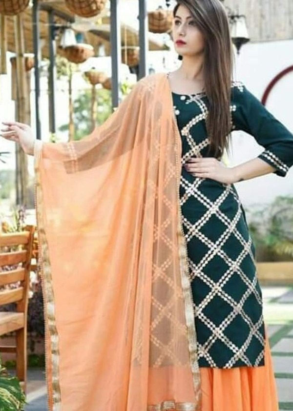 3-piece kurti with gold print and gotta work