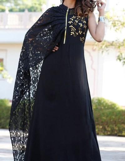 Black colour rayon gown with attached shrug