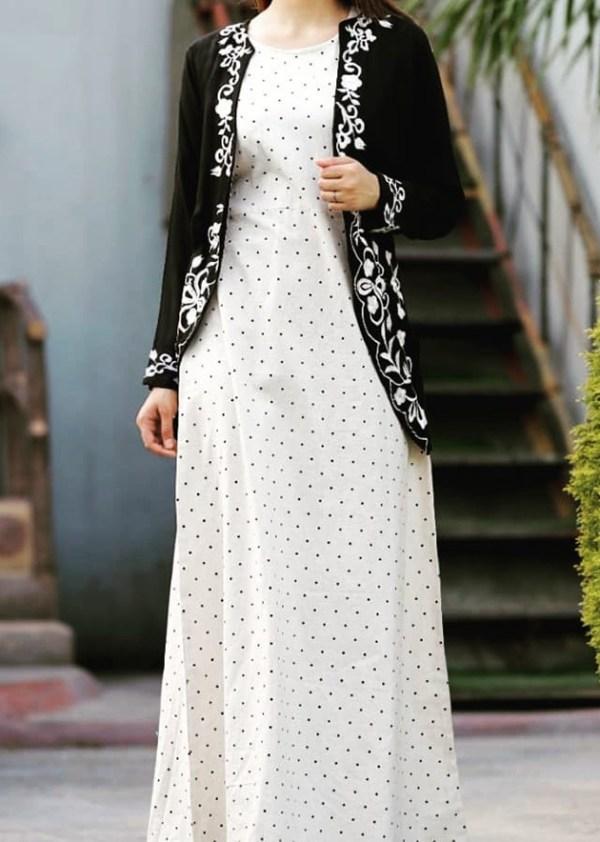 Dotted cotton kurti with black rayon shrug [AM1130]
