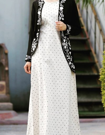 Dotted cotton kurti with black rayon shrug [AM1130]