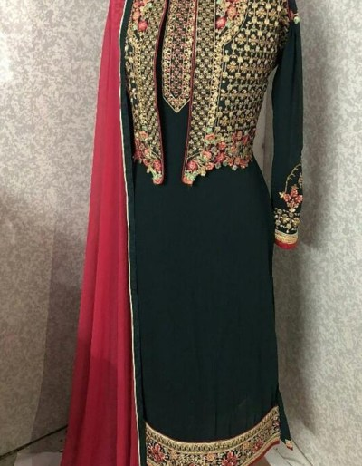 Faux Georgette kurti with embroidery work