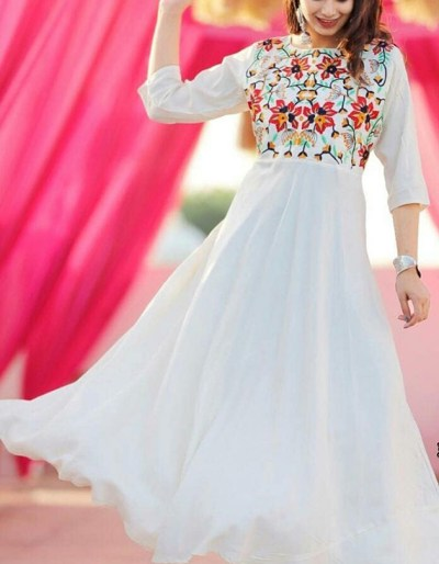 Full flair kurti with hand embroidery