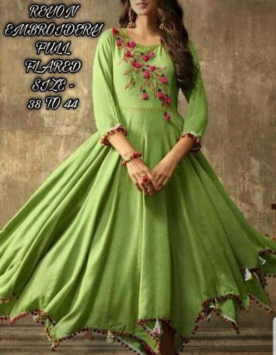 Full flair rayon kurti with beautiful tussle
