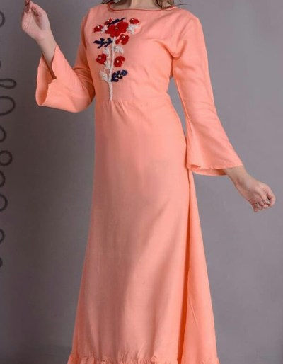 Good quality rayon kurti with embroidery work in front [AM]