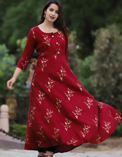 Long rayon kurti in vibrant colour with beautiful prints [AM-1175]