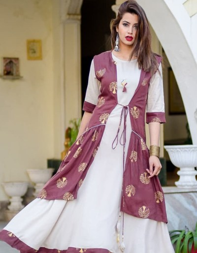 Rayon designer long kurti with shrug