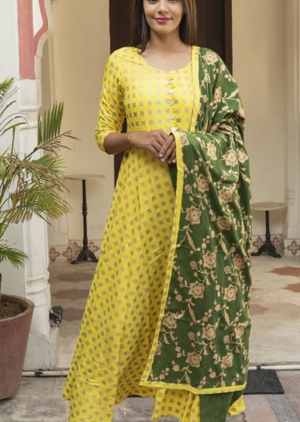 Rayon fabric yellow kurti and dupatta with gold print [AM-1171]
