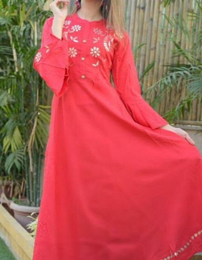 Rayon red kurti with beautiful gotta work