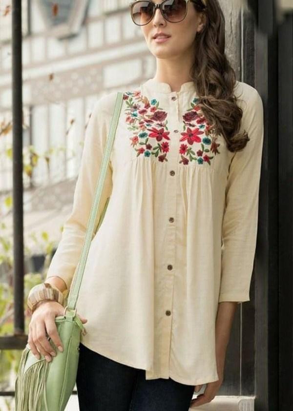 Rayon slub shirt with classic embroidery work [AM-1176]