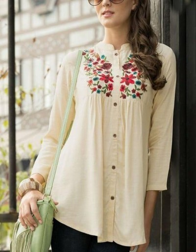 Rayon slub shirt with classic embroidery work [AM-1176]