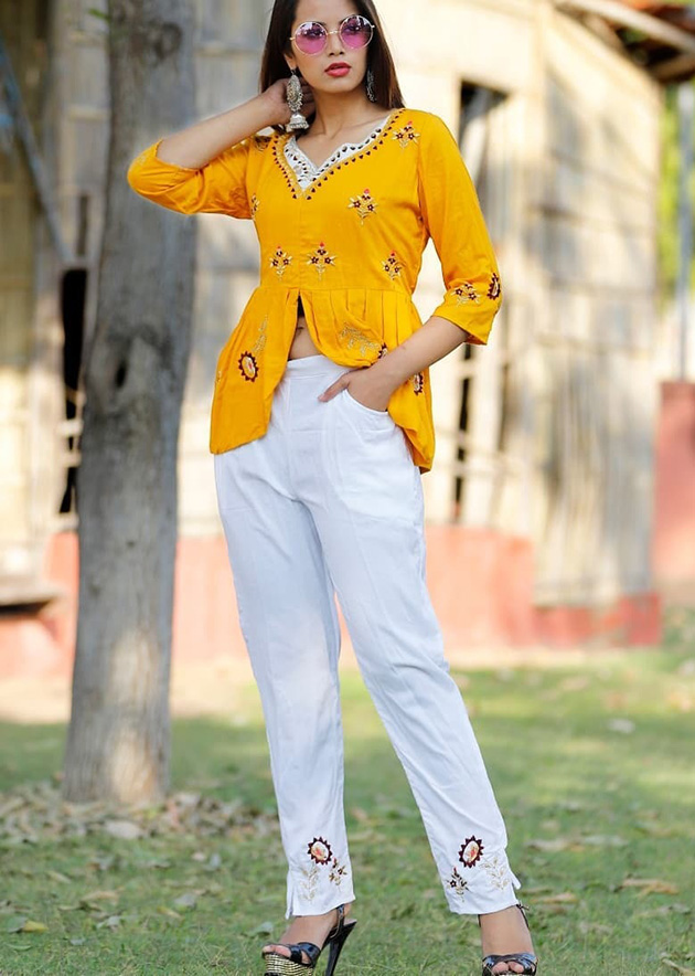 Short kurti and pant with stylish embroidery