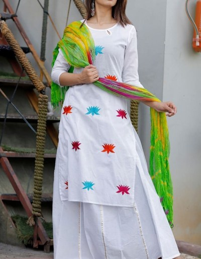 White designer kurti with skirt and dupatta
