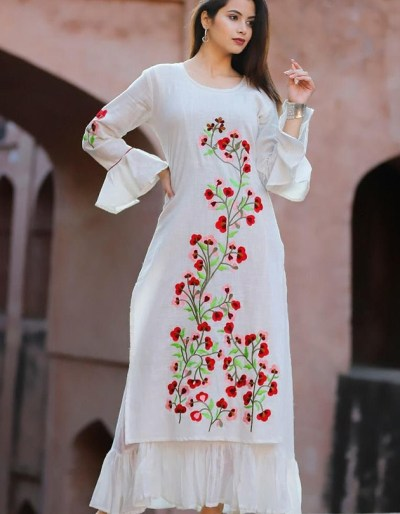 White kurti with beautiful embroidery work