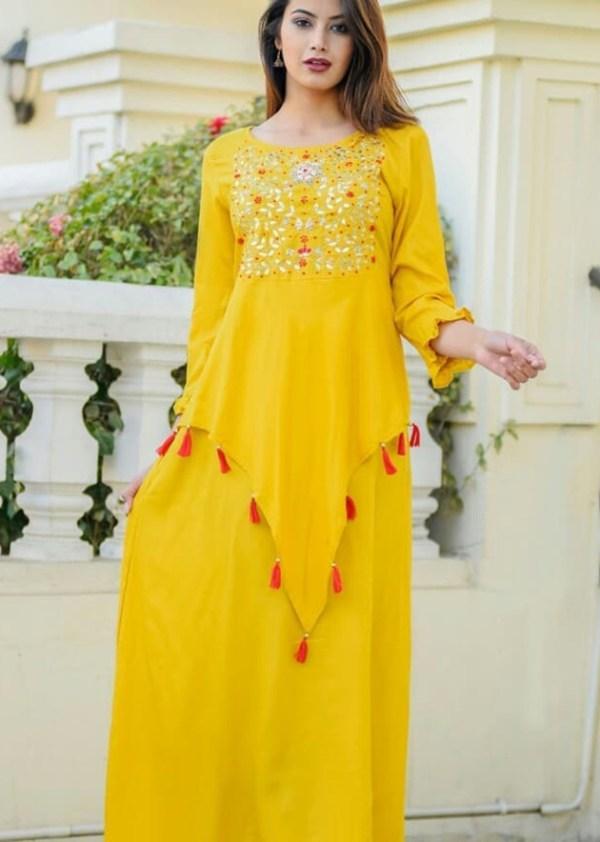 Yellow rayon kurti with beautiful design work on front [AM-1154]