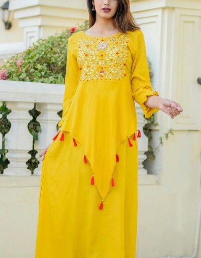 Yellow rayon kurti with beautiful design work on front [AM-1154]