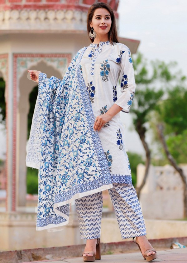 Cotton kurti, pant and dupatta set with colourful block prints