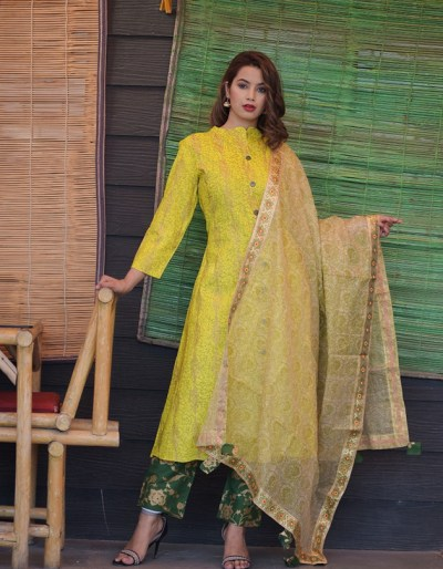 Kurti, palazzo & dupatta in yellow and green