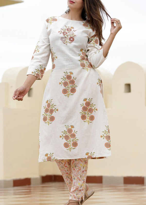 South cotton kurti pant with hand embroidered buta work