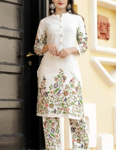 Cotton flax kurti pant set hand embroidery