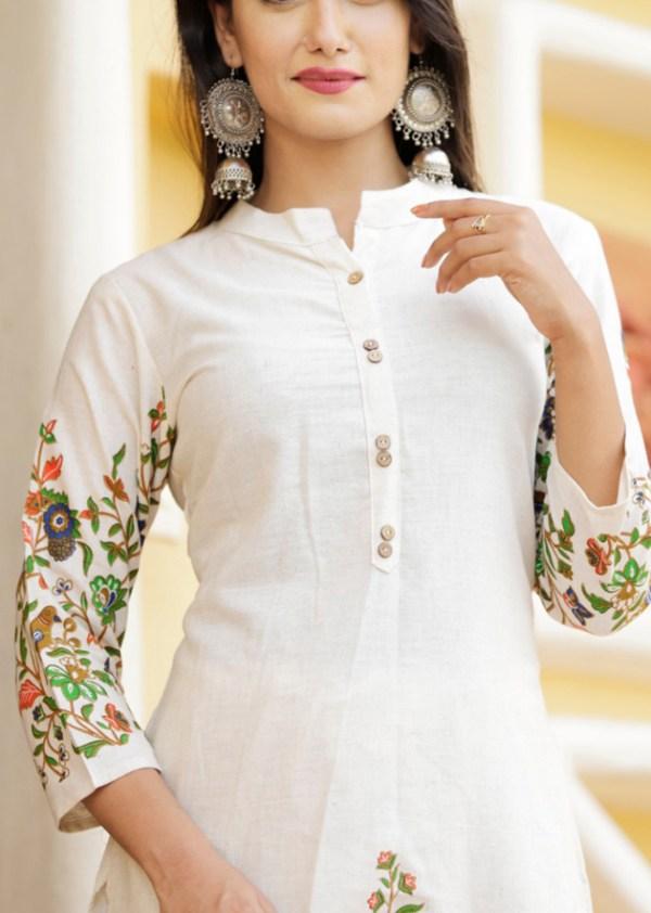 Cotton flax kurti pant embroidery