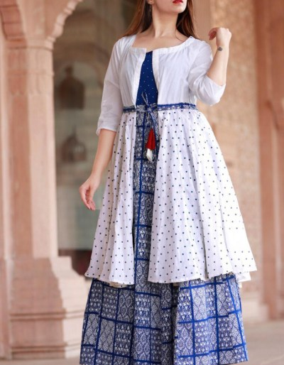 Blue kurti white shrug