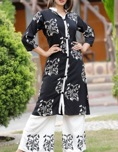 Printed black kurti and off-white palazzo