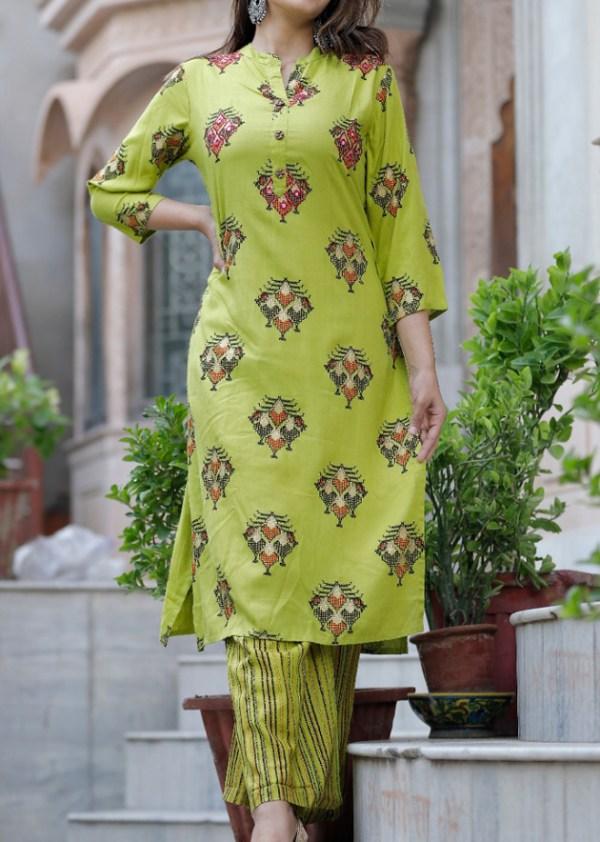 Printed green kurti pant