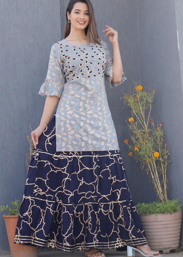 Kurti skirt with embroidery